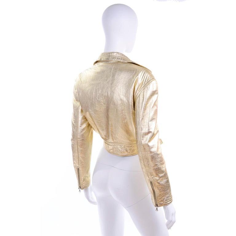Gianni Versace Fall Winter 1994 95 Runway Vintage Embossed Gold Moto Jacket  For Sale 1