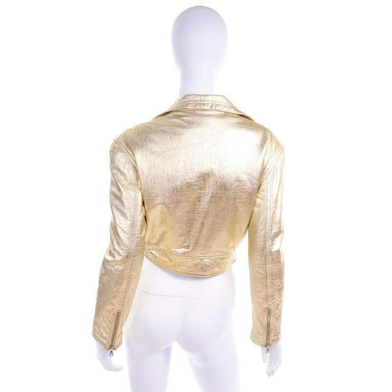 Gianni Versace Fall Winter 1994 95 Runway Vintage Embossed Gold Moto Jacket  For Sale 2