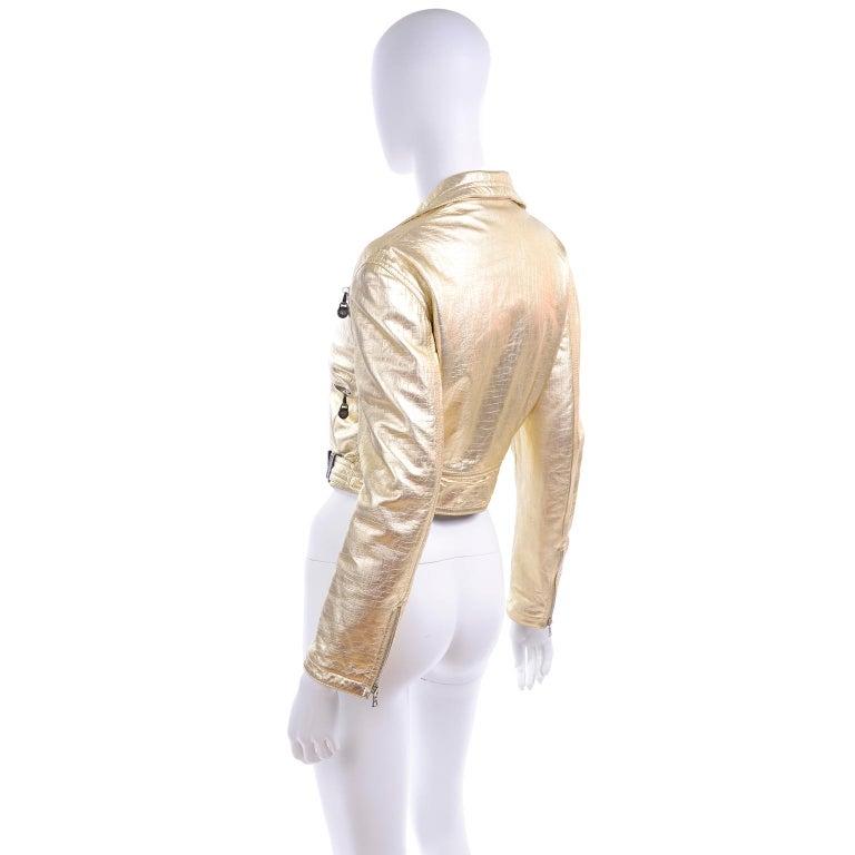 Gianni Versace Fall Winter 1994 95 Runway Vintage Embossed Gold Moto Jacket  For Sale 3