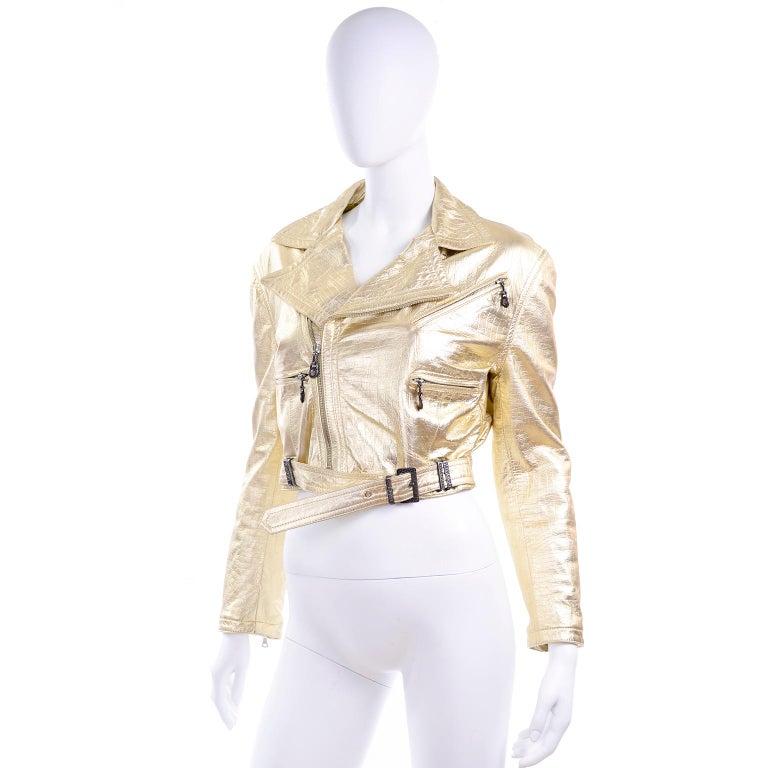 Gianni Versace Fall Winter 1994 95 Runway Vintage Embossed Gold Moto Jacket  For Sale 4
