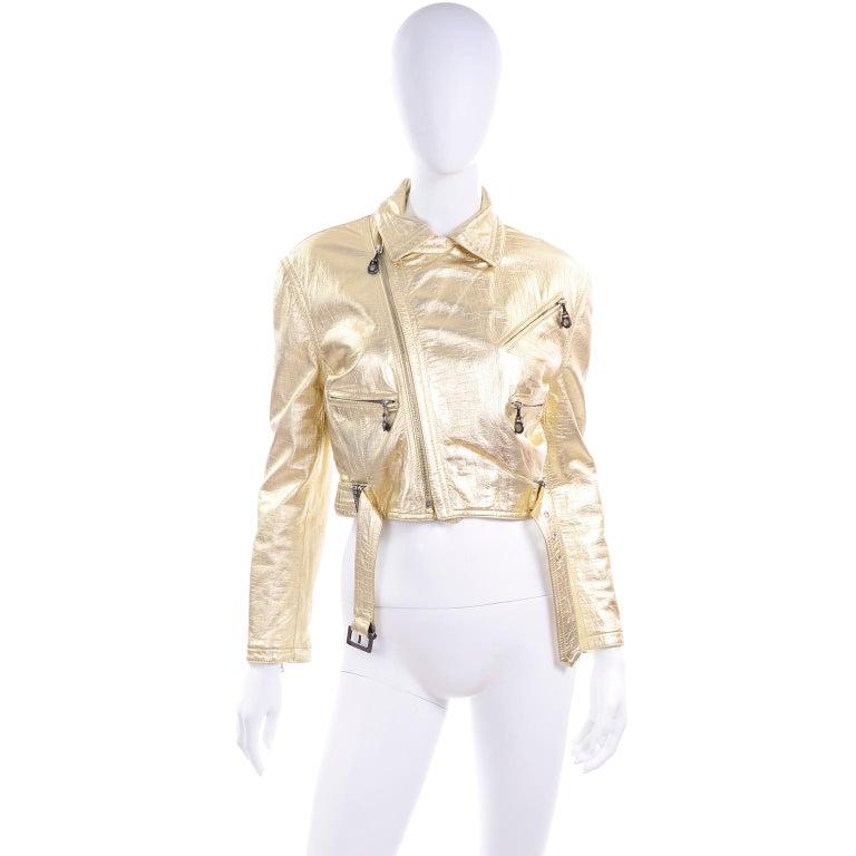 Gianni Versace Fall Winter 1994 95 Runway Vintage Embossed Gold Moto Jacket  For Sale 5