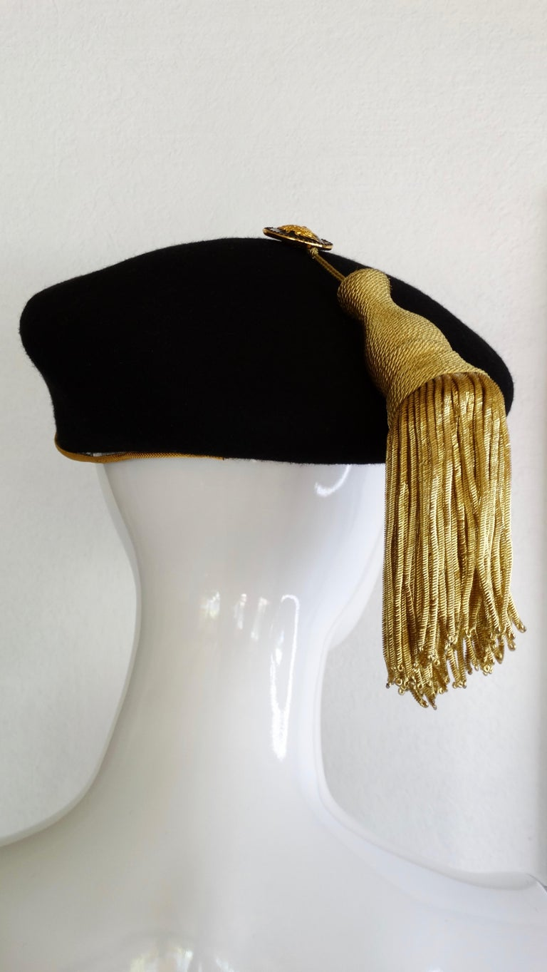 Gianni Versace Felt Hat with Gold Threaded Tassel  For Sale 8