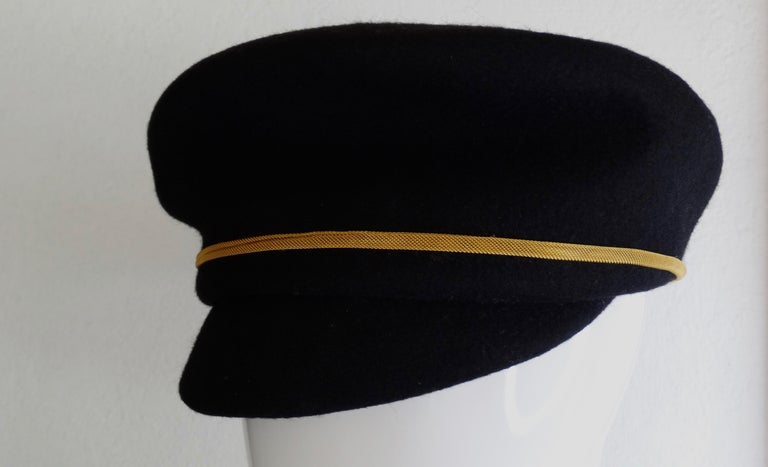 Gianni Versace Felt Hat with Gold Threaded Tassel  In Good Condition For Sale In Scottsdale, AZ