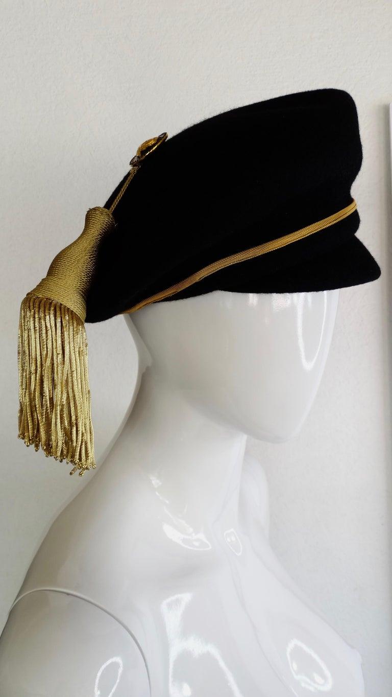 Women's or Men's Gianni Versace Felt Hat with Gold Threaded Tassel  For Sale