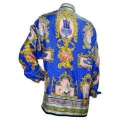 Gianni Versace Floral Baroque Silk Shirt