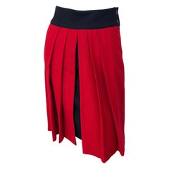 Gianni Versace for Genny Lipstick Red + Black 1980s Vintage 80s Pencil Skirt