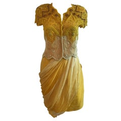 Gianni Versace for Genny Yellow Beaded Jacket and Chiffon Skirt Ensemble