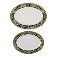"""Gianni Versace for Rosenthal, 2 Oval """"Gold Ivy"""" Serving Dishes"""