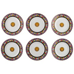 """Gianni Versace for Rosenthal, 6 """"Le Cirque"""" Plates"""