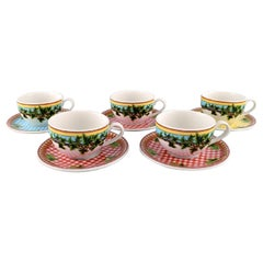 """Gianni Versace for Rosenthal, Five Large """"Ivy Leaves"""" Teacups with Saucers"""