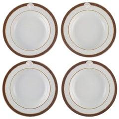 Gianni Versace for Rosenthal, Four Médaillon Méandre D'or Deep Plates