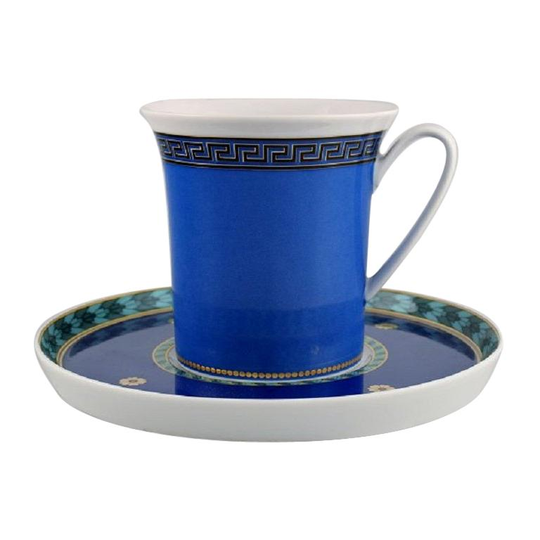 Gianni Versace for Rosenthal, Le Roi Soleil Coffee Cup with Saucer in Porcelain For Sale