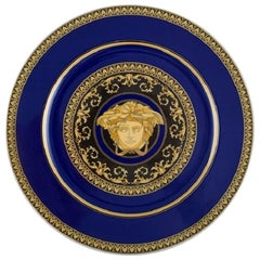 Gianni Versace for Rosenthal. Medusa Blue Plate, Porcelain with Gold Decoration