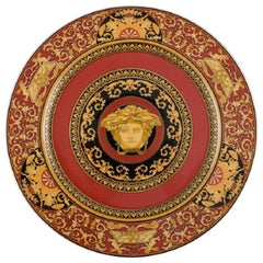 Gianni Versace for Rosenthal. Red Medusa Porcelain Plate with Gold Decoration
