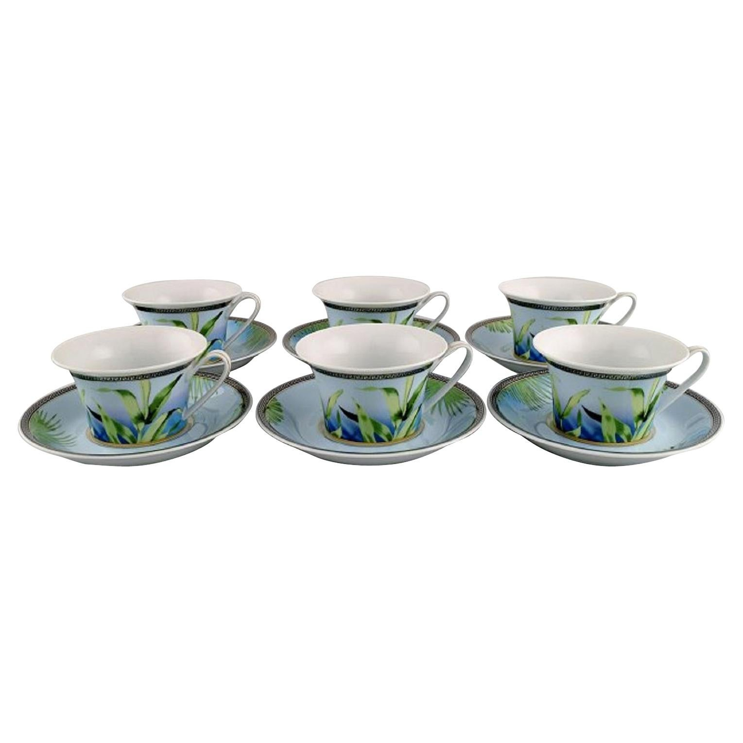 Gianni Versace for Rosenthal, Six Jungle Tea Cups with Saucer in Porcelain