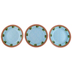 "Gianni Versace for Rosenthal, Three ""Blue Ivy Leaves"" Plates, Late 20th Century"