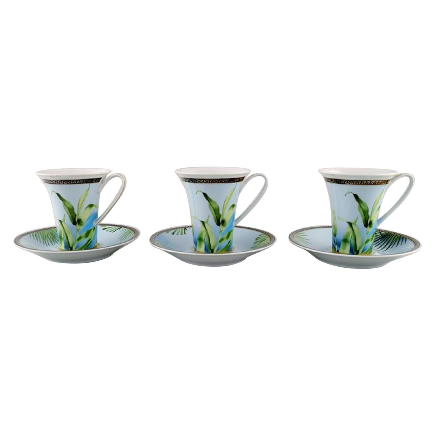"""Gianni Versace for Rosenthal, Three """"Jungle"""" Coffee Cups with Saucer"""