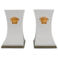 Gianni Versace for Rosenthal, Two Gorgona Bookends in White Porcelain