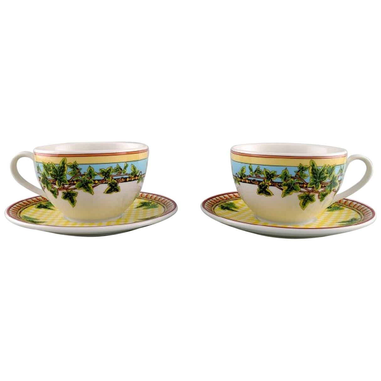 """Gianni Versace for Rosenthal, Two """"Ivy Leaves Passion"""" Cups with Saucers"""