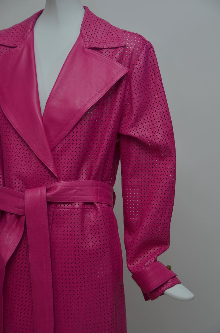 Red GIANNI VERSACE  Fucsia Buttery Soft Leather Lasercut Trench Coat  For Sale