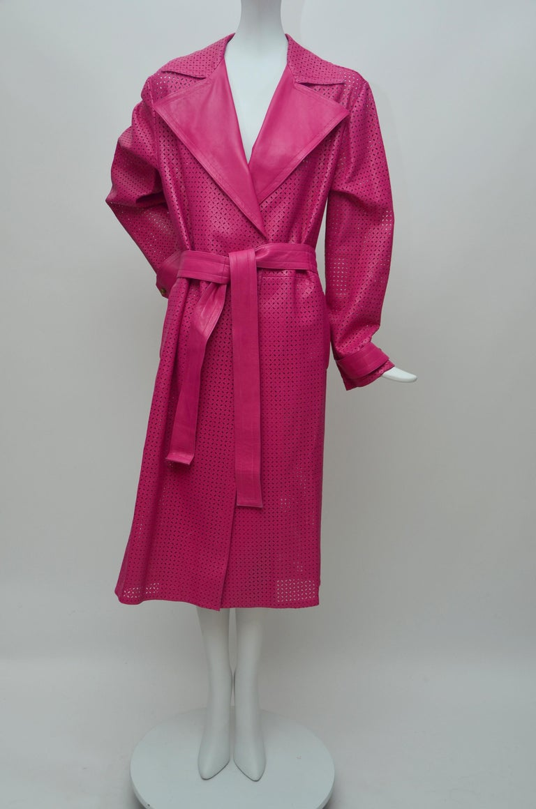 GIANNI VERSACE  Fucsia Buttery Soft Leather Lasercut Trench Coat  In Excellent Condition For Sale In New York, NY