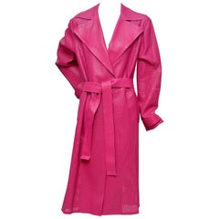 GIANNI VERSACE  Fucsia Buttery Soft Leather Lasercut Trench Coat