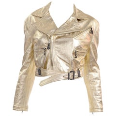 Gianni Versace FW 1994 95 Runway Vintage Embossed Gold Cropped Moto Jacket