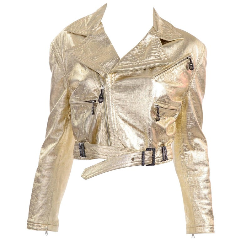 Gianni Versace FW 1994 95 Runway Vintage Embossed Gold Cropped Moto Jacket  For Sale