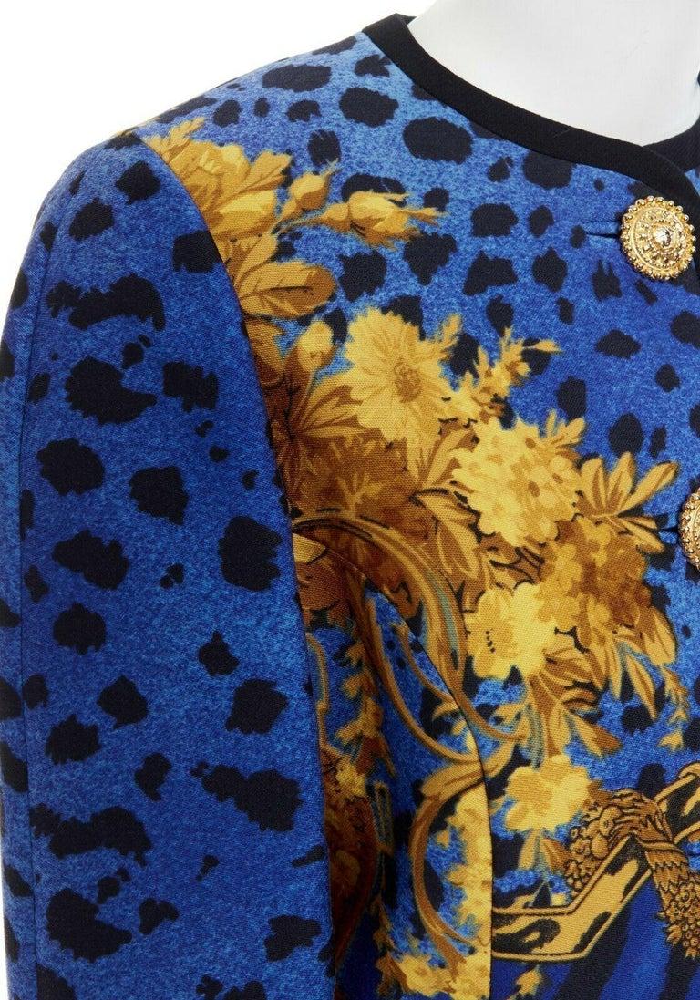 GIANNI VERSACE gold baroque print blue leopard Medusa button jacket skirt set XS For Sale 6