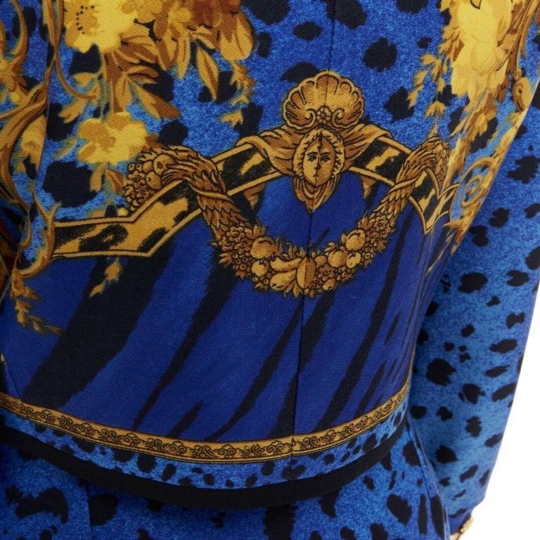 GIANNI VERSACE gold baroque print blue leopard Medusa button jacket skirt set XS For Sale 7