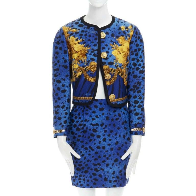 Women's GIANNI VERSACE gold baroque print blue leopard Medusa button jacket skirt set XS For Sale