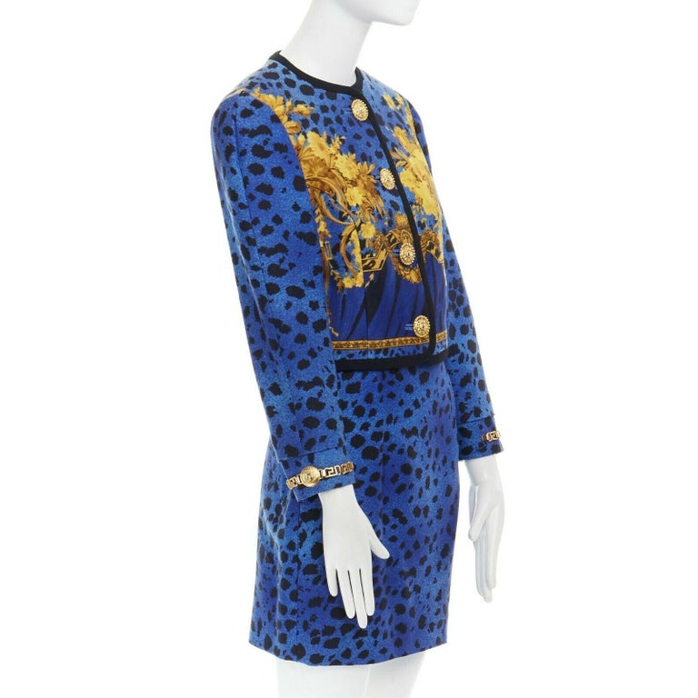 GIANNI VERSACE gold baroque print blue leopard Medusa button jacket skirt set XS For Sale 1