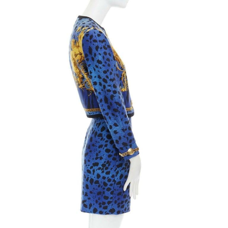 GIANNI VERSACE gold baroque print blue leopard Medusa button jacket skirt set XS For Sale 2