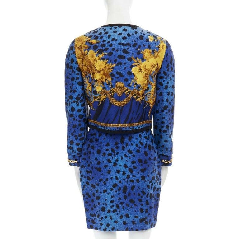 GIANNI VERSACE gold baroque print blue leopard Medusa button jacket skirt set XS For Sale 3