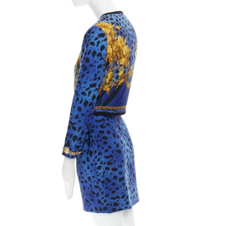 GIANNI VERSACE gold baroque print blue leopard Medusa button jacket skirt set XS For Sale 4