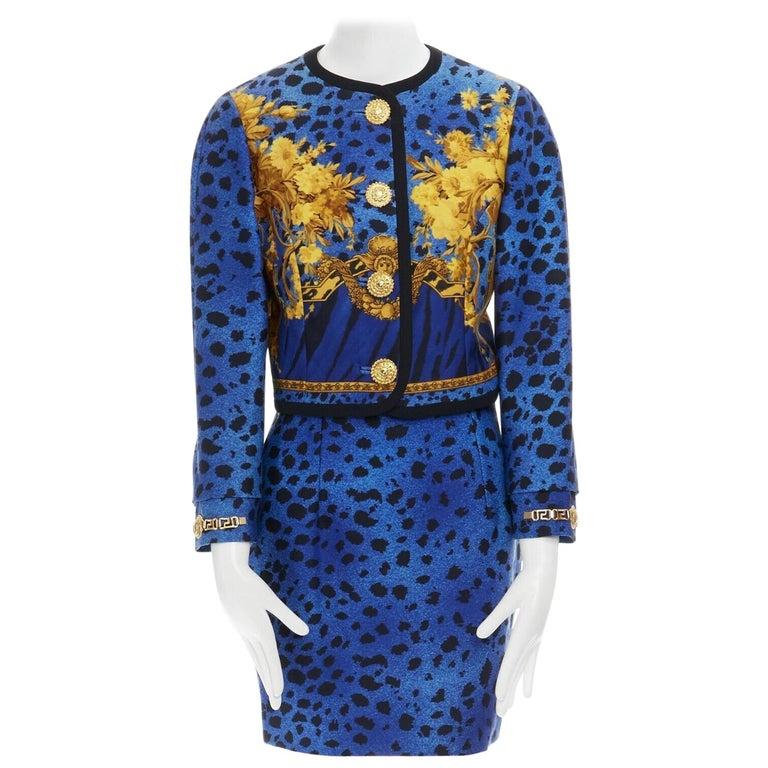 GIANNI VERSACE gold baroque print blue leopard Medusa button jacket skirt set XS For Sale