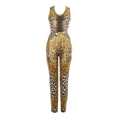 Gianni Versace gold leopard printed bodysuit and pants, ss 1992