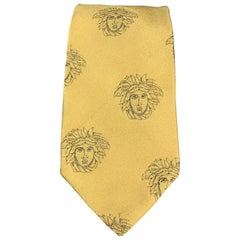 GIANNI VERSACE Gold Silk Medusa Heads Print Tie