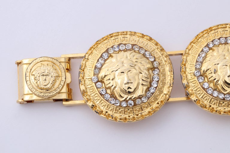 Gianni Versace Gold Toned Bracelet With 6 Medusas and Rhinestones In Good Condition For Sale In Chicago, IL