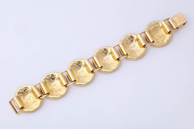 Gianni Versace Gold Toned Bracelet With 6 Medusas and Rhinestones For Sale 1