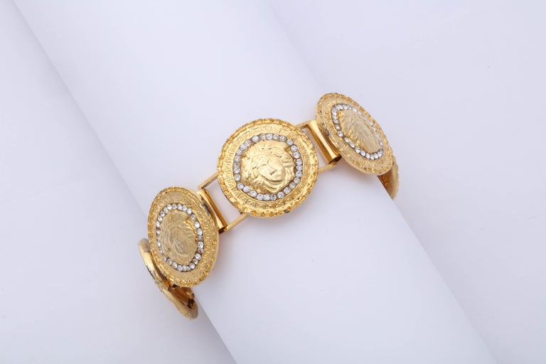 Gianni Versace Gold Toned Bracelet With 6 Medusas and Rhinestones For Sale 3