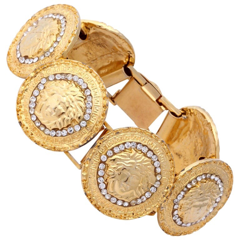 Gianni Versace Gold Toned Bracelet With 6 Medusas and Rhinestones For Sale