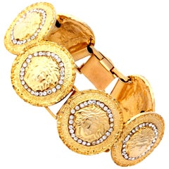 Gianni Versace Gold Toned Bracelet With 6 Medusas and Rhinestones