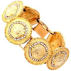 Gianni Versace Gold Toned Bracelet With 6 Medusas and Rhinestones