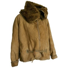 Gianni VERSACE green beige leather, fur lined, aviator model jacket - Unworn
