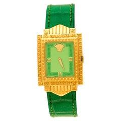 Gianni Versace Green Gold Plated Signature Medusa 7066927 Wristwatch 28 mm