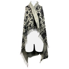 Gianni Versace Grey and Black Leopard Animal Print Cover Up Throw Blanket
