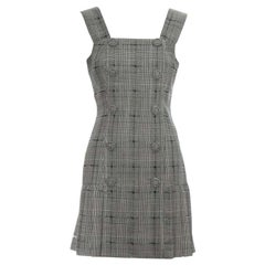Gianni Versace grey checked wool pleated pinafore dress, ss 1994