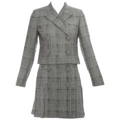 Gianni Versace grey checked wool pleated skirt and cropped jacket, ss 1994