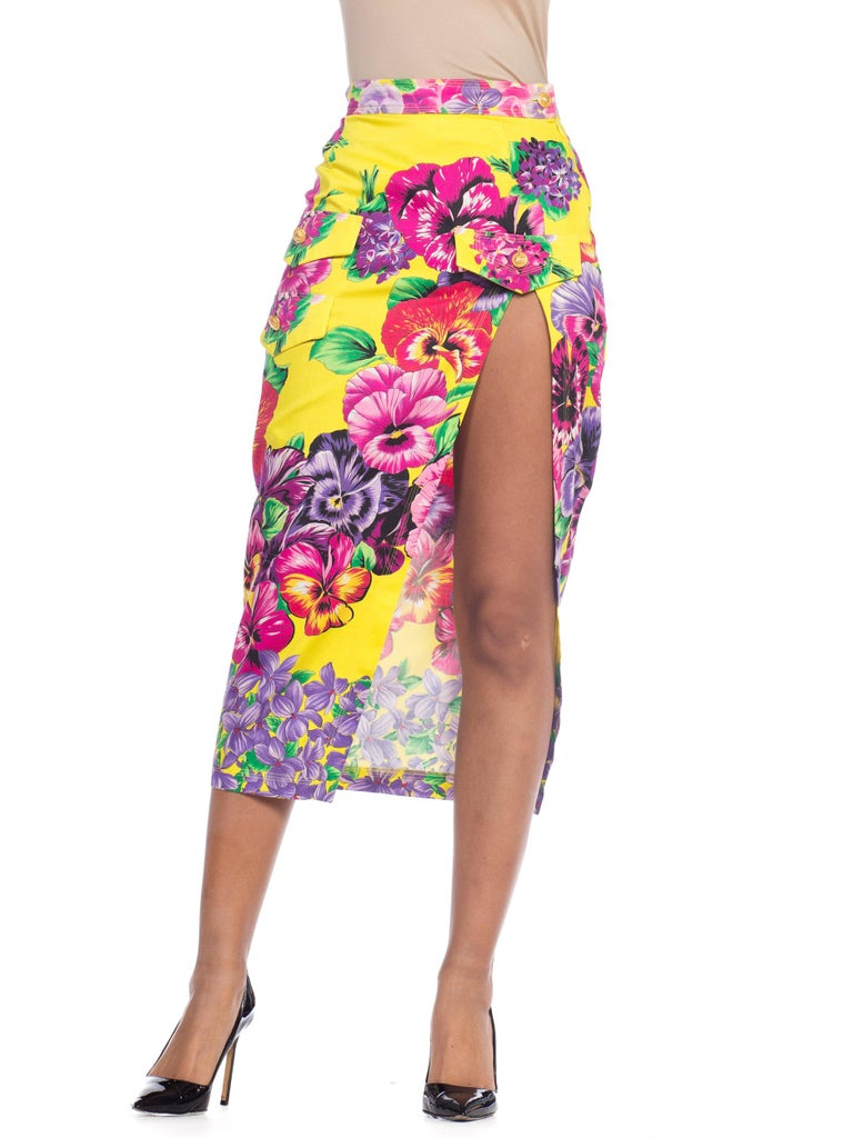 Gianni Versace High Slit Skirt With Versus Sheer Blouse Set For Sale 5
